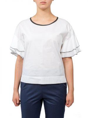 Блуза Sfizio белая с черной оборкой