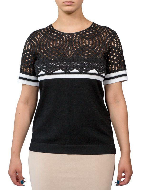 Блуза D. Exterior черная с гипюром