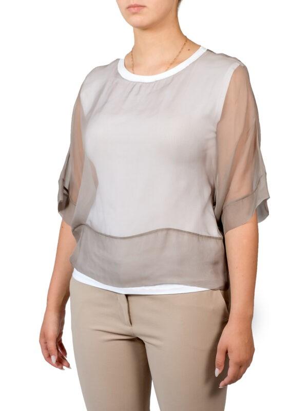 Блуза Peserico бежевая на белом подкладе