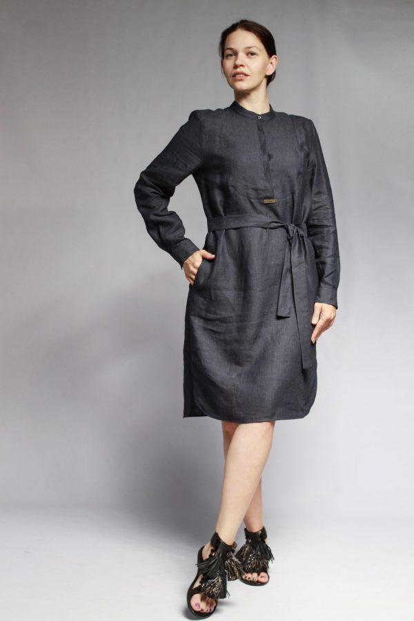 Платье Peserico темно-синее льняное