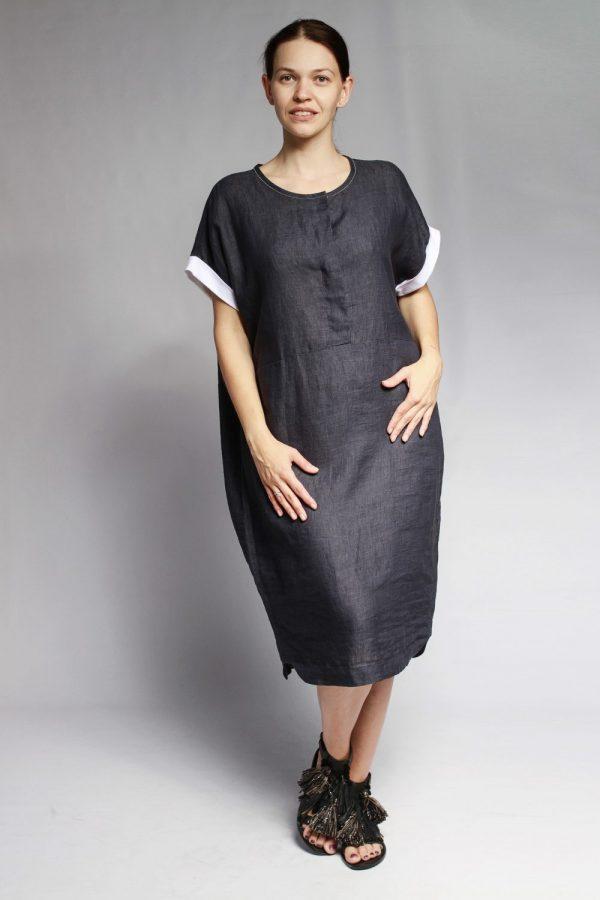 Платье Peserico темно-синее с белой отделкой