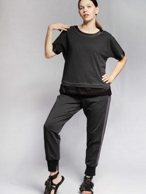 Блузка Peserico темно-синяя с черной отделкой