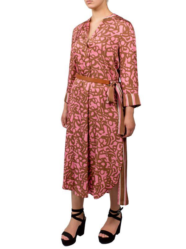 Платье Beatrice розовое с бежевым рисунком