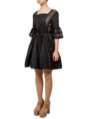 Платье Lara черное с гипюром