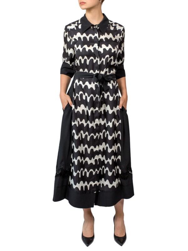 Платье-халат Beatrice черное-белое