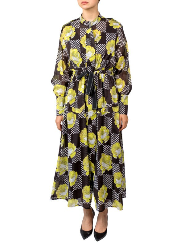 Платье Beatrice на молнии черное с желтыми цветами