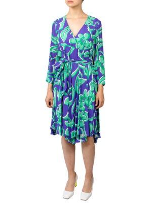 Платье Beatrice с зеленым и фиолетовым принтом
