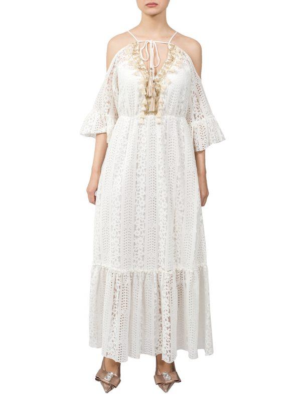 Платье Jean Louis Francois белое кружевное