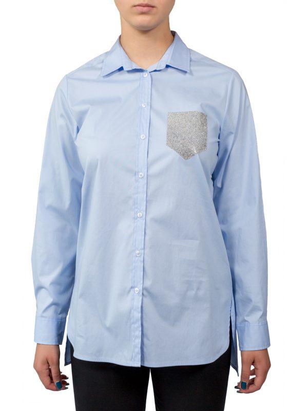 Рубашка Paquito синяя со стразами