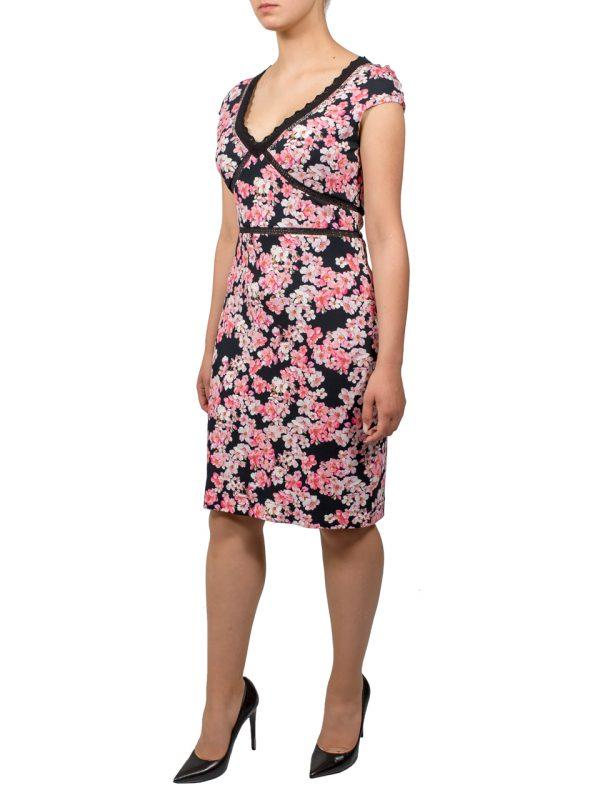 Платье VDP черное в маленький цветочек на молнии