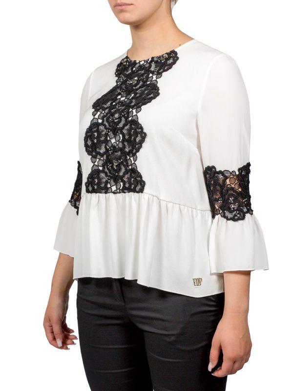 Блуза VDP белая с черным кружевом