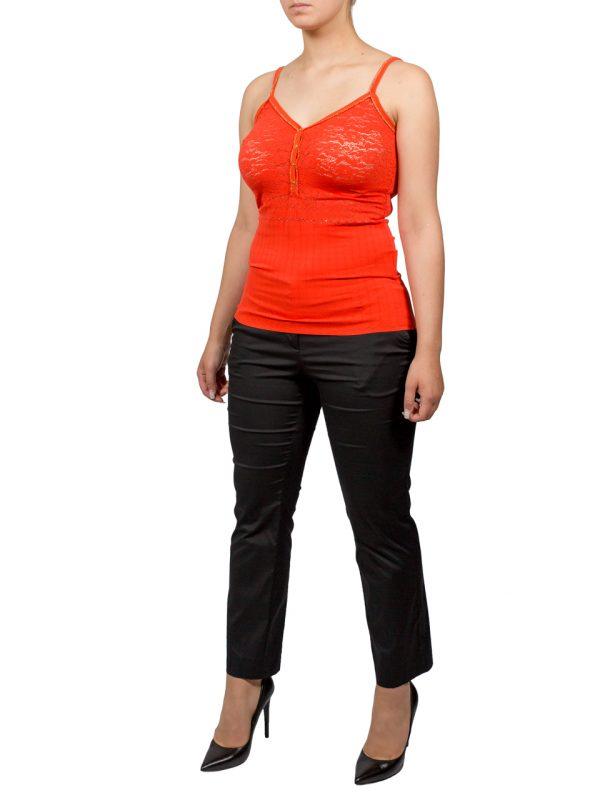 Майка VDP оранжевая с гипюром