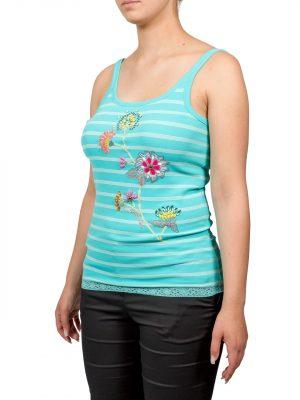 Майка VDP голубая в полоску с цветами