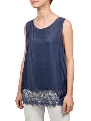 Блуза Made in Italy синяя с гипюром
