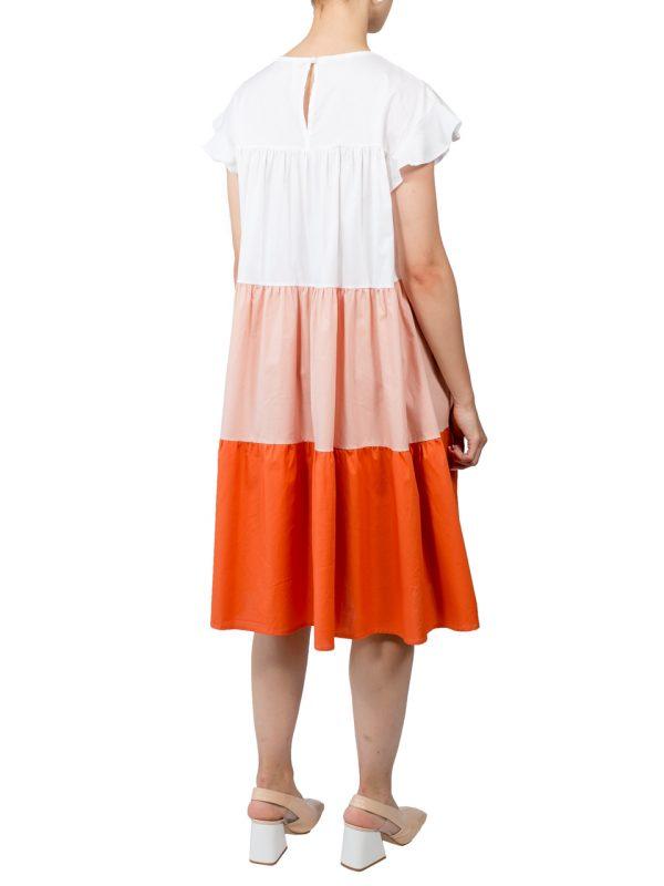 Платье Lumina свободного кроя с оранжевой вставкой