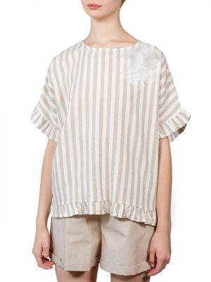 Блуза Lumina бежевая в полоску