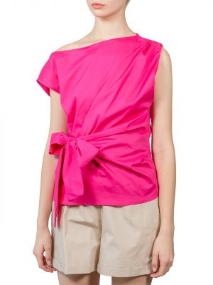 Блуза Lumina фуксия со спущенным плечом