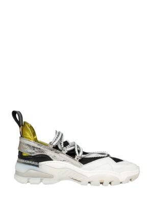 Кроссовки V Season белые с золотистой пяткой и черной сеткой