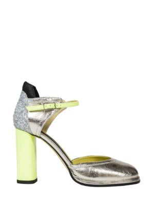 Туфли V Season серебристые с каблуком лимонного цвета