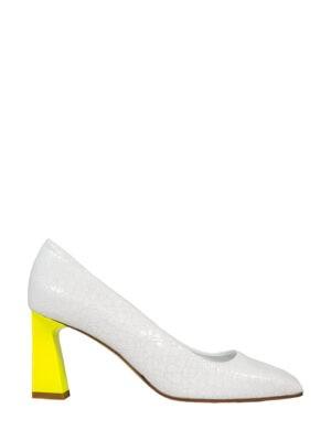 Туфли V Season белые с желтым каблуком