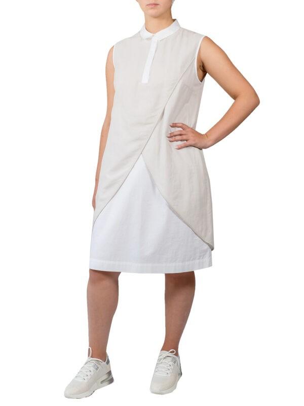 Платье Peserico бежевое на белом подкладе