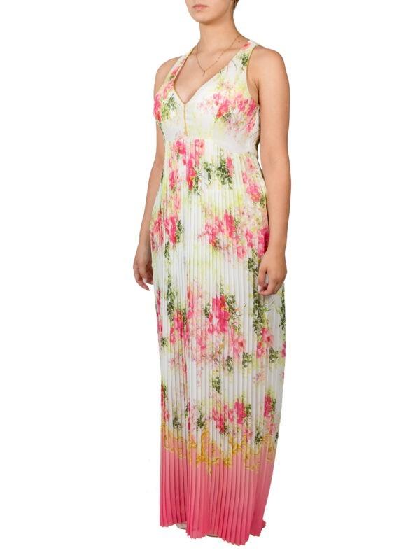 Платье VDP плиссированное в пол с цветами
