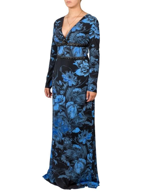 Платье Roberto Cavalli черное в пол с синими цветами