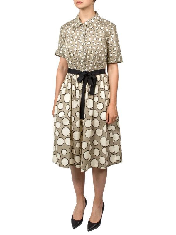 Платье Luisa Spagnoli бежевое с черным поясом