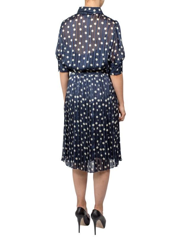 Платье Luisa Spagnoli синее в белый горошек