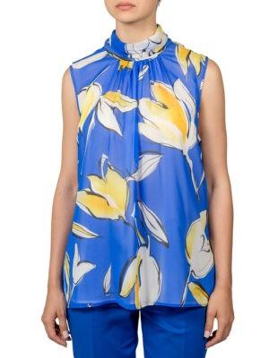 Блуза Luisa Spagnoli голубая с желтыми цветами