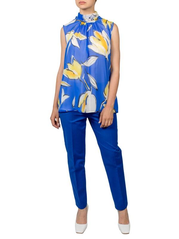 Топ Luisa Spagnoli голубой с желтыми цветами