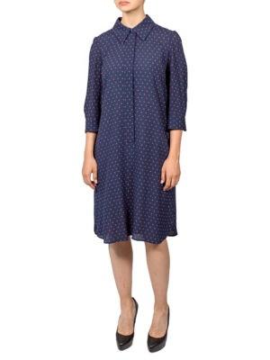 Платье Luisa Spagnoli темно-синее в мелкий горошек
