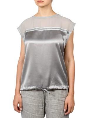 Блуза Luisa Spagnoli серея шелковая