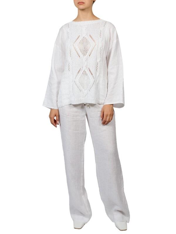 Кофта Luisa Spagnoli белая вязка и лен