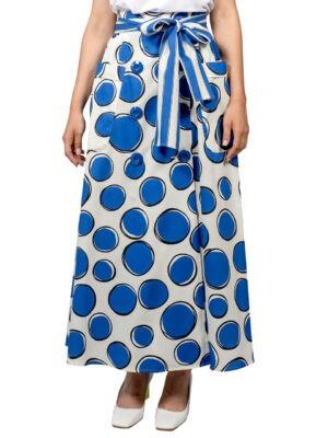 Юбка Luisa Spagnoli белая в крупный синий горох