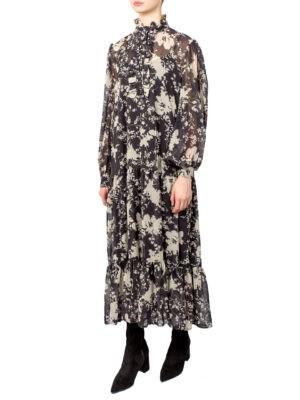 Платье Imperial черное с бежевыми цветами