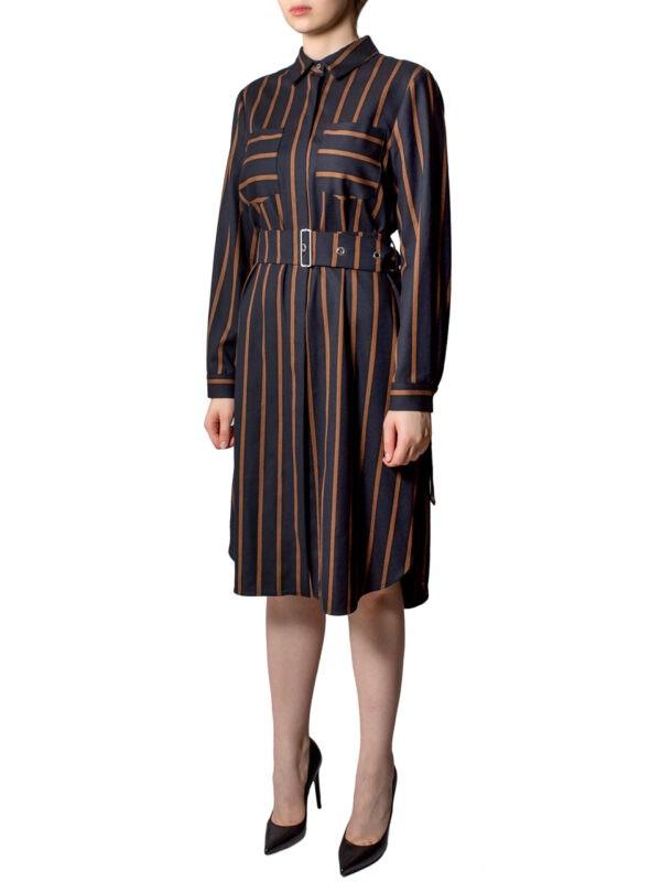 Платье Sfizio черного цвета в коричневую полоску