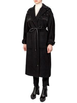 Пальто Beatrice черное с бисером
