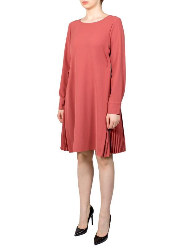 Платье Beatrice цвета лосось по бокам плиссе