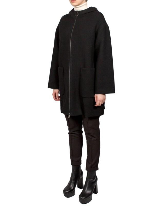 Пальто Sfizio черное с капюшоном