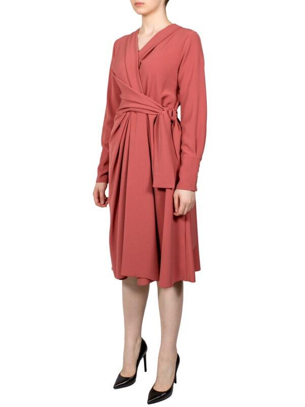 Платье Beatrice цвета лосось на запах 6111STAR