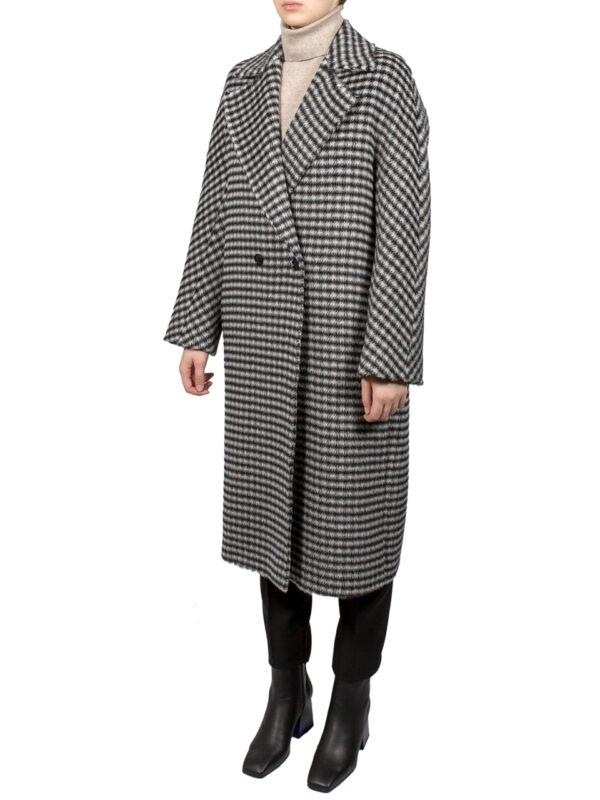 Пальто Max Mara Studio черно-белое в клетку