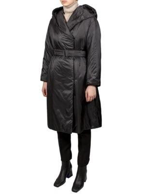 Пальто-пуховик Max Mara The Cube черного цвета с капюшоном