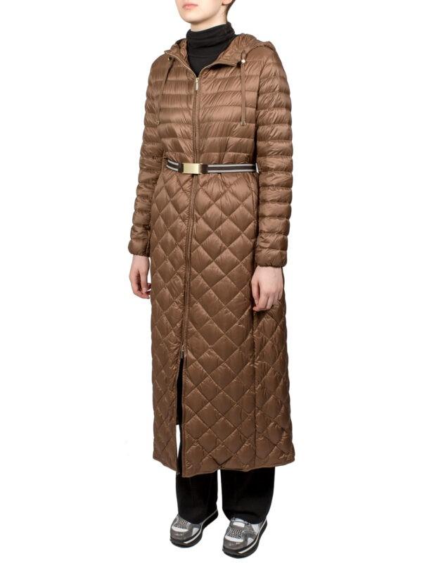 Пальто-пуховик Max Mara The Cube бронзового цвета стеганное