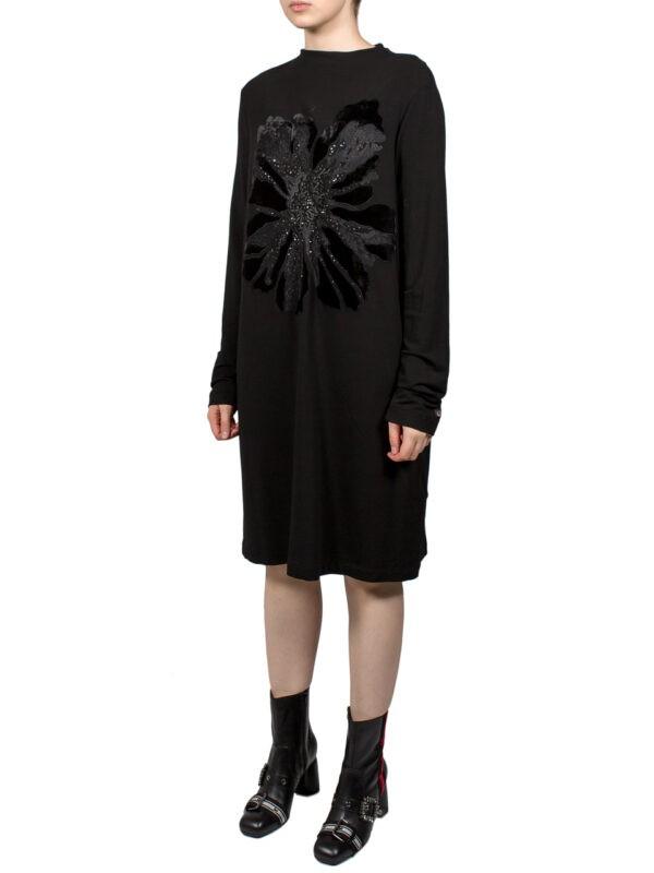 Платье VDP черное с велюровыми цветами и стразами