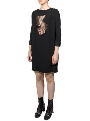 Платье VDP черное с леопардом