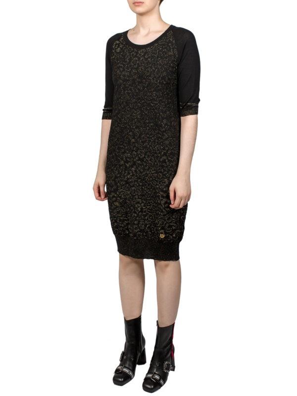 Платье VDP черное с золотым люрексом