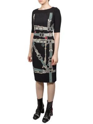 Платье VDP черное рисунок в виде ремешков