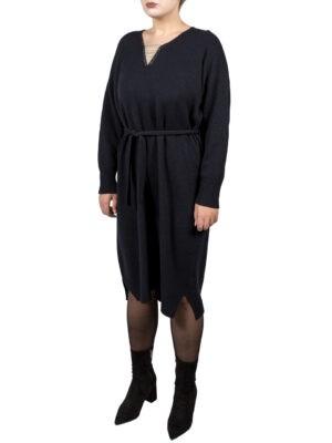 Платье Peserico темно-синего цвета с серебряными нитями