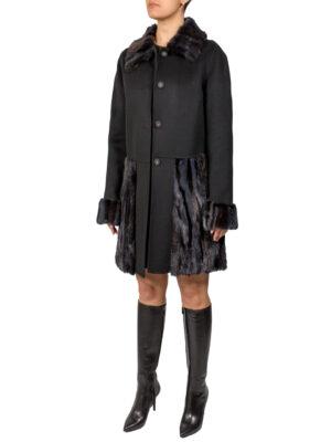 Пальто Clips черное с меховой отделкой